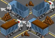 Isometrische containersvrachtwagens in achtermening Stock Afbeelding