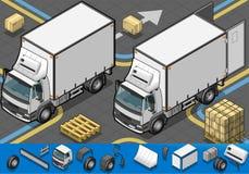 De isometrische vrachtwagen van de containerijskast in vooraanzicht Stock Foto