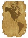 De gedetailleerde kaart van Amerika op het oude document Royalty-vrije Stock Afbeeldingen