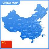 De gedetailleerde kaart van China met gebieden of staten en steden, kapitalen, nationale vlag vector illustratie