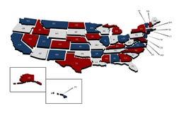 De gedetailleerde Kaart van de Staat van de V.S. Royalty-vrije Stock Fotografie