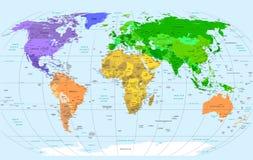 De gedetailleerde Kaart van de Wereld Stock Foto