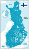 De gedetailleerde Kaart van Finland vector illustratie