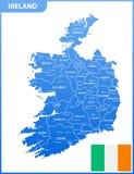 De gedetailleerde kaart van Ierland met gebieden of staten en steden, kapitalen, nationale vlag stock illustratie
