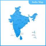 De gedetailleerde kaart van India met gebieden en Sri Lanka royalty-vrije illustratie