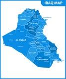 De gedetailleerde kaart van Irak met gebieden of staten en steden, kapitaal Administratieve afdeling stock illustratie