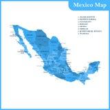 De gedetailleerde kaart van Mexico met gebieden of staten en steden stock illustratie