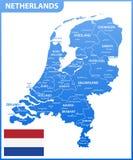 De gedetailleerde kaart van Nederland met gebieden of staten en steden, kapitaal Administratieve afdeling vector illustratie