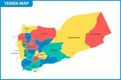 De gedetailleerde kaart van Yemen met gebieden of staten en steden, kapitaal Administratieve afdeling stock illustratie