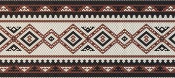 De gedetailleerde Kastanjebruine Traditionele Volks Arabische Hand die van Sadu Patte weven stock illustratie