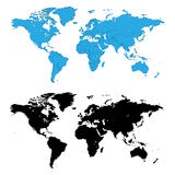 De gedetailleerde vector van wereldkaarten Royalty-vrije Stock Fotografie