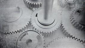 De gedeukte industriële radertjes van staal grunge glanzende toestellen en technologic digitale kringen royalty-vrije stock afbeeldingen