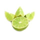 De gediende die samenstelling van het kalkfruit over wordt geïsoleerd Royalty-vrije Stock Foto's