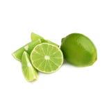 De gediende die samenstelling van het kalkfruit over wordt geïsoleerd Stock Afbeeldingen