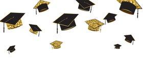 De gediplomeerde dekt baner, zwarte en gouden kleur op een witte achtergrond af Omhoog geworpen graduatiehoed royalty-vrije illustratie