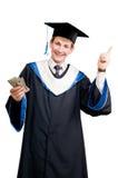 De gediplomeerde student van Smiley in mantel Royalty-vrije Stock Foto