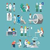De geduldige vlakke 3d isometrische medische vector van het het ziekenhuisberoep Stock Foto
