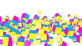 De geel-violette en turkooise kubussen vliegen langzaam op een witte achtergrond geanimeerd 3d geef terug royalty-vrije illustratie