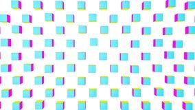 De geel-violette en turkooise kubussen vliegen langzaam op een witte achtergrond geanimeerd 3d geef terug stock illustratie