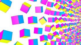 De geel-violette en turkooise kubussen vliegen langzaam op een witte achtergrond geanimeerd 3d geef terug vector illustratie