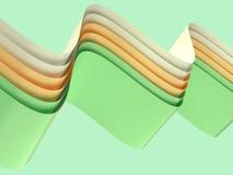 De geelgroene witte van de de vormlevitatie van de krommegolf abstracte 3d teruggevende achtergrond royalty-vrije illustratie