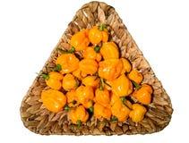 De geeloranje rijpe peper van de habanero hete Spaanse peper op een houten plaat Stock Foto's