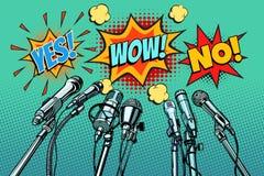 De geen achtergrond van persconferentiemicrofoons, ja wauw vector illustratie