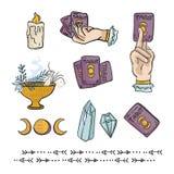 De geestelijke Symbolen overhandigen de Getrokken Vectorreeks van de Pictogramillustratie stock illustratie