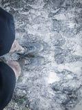De gefiltreerde mens die van de beeld hoogste mening de tennisschoenen van sportschoenen op modderig ras dragen volgt stock afbeeldingen