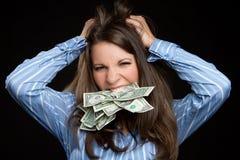 De gefrustreerde Vrouw van het Geld stock afbeelding