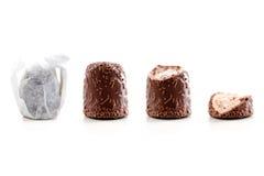 De gegeten stappen van de chocolade marshmellow royalty-vrije stock afbeeldingen
