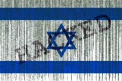 De gegevens Binnendrongen in een beveiligd computersysteem vlag van Israël De vlag van Israël met binaire code Stock Afbeelding