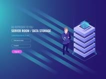 De gegevens centreren concept, gegevensbestanden en de informatiebeveiliging van Internet, systeembeleid, IT isometrische 3d royalty-vrije illustratie