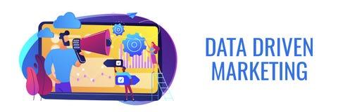 De gegevens gedreven marketing kopbal van de conceptenbanner stock illustratie