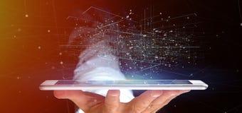 De Gegevens het binaire wolk van de mensenholding 3d teruggeven Royalty-vrije Stock Afbeeldingen