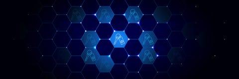 De gegevens, sleutel, encryptiepictogram van Algemeen gegevensproject plaatsen in technologisch stock illustratie