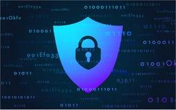 De gegevens van de banner cyber veiligheid over Internet Vectorillustratie in een moderne stijl royalty-vrije stock foto's