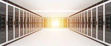 De gegevens van de serverruimte centreren het binnenlandse 3D teruggeven Royalty-vrije Stock Afbeeldingen