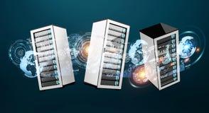 De gegevenscentrum van de serverruimte met elkaar het 3D teruggeven wordt verbonden die Royalty-vrije Stock Fotografie