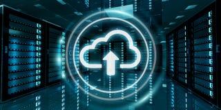De gegevenscentrum van de serverruimte met wolken het blauwe pictogram 3D teruggeven Stock Foto