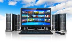 De gegevensverwerking en de telecommunicatie van de wolk concept royalty-vrije illustratie