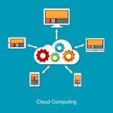 De gegevensverwerkingsconcept van de wolk De achtergrond van de technologie Gedistribueerd systeem Stock Foto