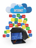 De gegevensverwerkingsconcept van de wolk. Virus, spam bescherming Stock Afbeeldingen
