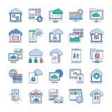 De gegevensverwerkingspictogrammen van de wolk royalty-vrije illustratie