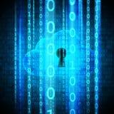 De gegevensverwerkingsveiligheid van de wolk Wolk met sleutelgat en matrijs het stromen Stock Afbeelding