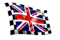 De gegolfte vlag van Union Jack met geruite grens Royalty-vrije Stock Foto
