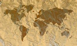 De gegraveerde Kaart van de Wereld op Leer Royalty-vrije Stock Foto