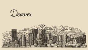 De gegraveerde vectorhand getrokken schets van Denver horizon Royalty-vrije Stock Fotografie