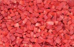 De gehakte rode close-up van wortelstukken Stock Foto