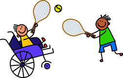 De gehandicapte Jongen speelt Tennis royalty-vrije illustratie